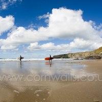 Trebarwith Strand Surfers